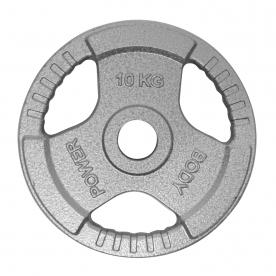 Body Power 10Kg Tri Grip Cast Iron Olympic Weight Plates (x2)