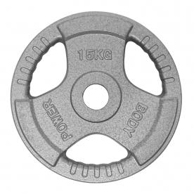 Body Power 15Kg Tri Grip Cast Iron Olympic Weight Plates (x2)