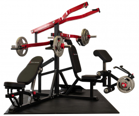 Body Power Multi-Station Leverage Gym with 165Kg Olympic Tri Grip Disc Set