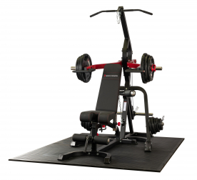Body Power Leverage Gym with Bench and 125Kg Olympic Rubber Tri-Grip Disc Set
