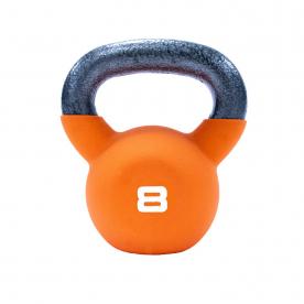 8kg Orange Neoprene Covered Kettlebell *