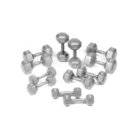 Body Power 5-17.5Kg Hex Cast Iron Dumbbell Weight Set (6 Pairs)