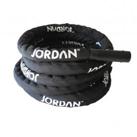 Jordan Fitness 15m Training Rope with Nylon Jacket Black 15.8kg
