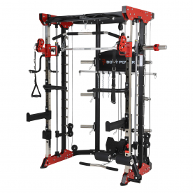 Body Power Multi-Function Smith Machine with Half Rack & Dual Adjustable Pulley