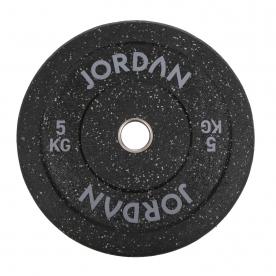 Jordan Fitness 5Kg HG Black Rubber Bumper Plate - Coloured Fleck (x1) - Grey