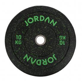 Jordan Fitness 10Kg HG Black Rubber Bumper Plate - Coloured Fleck (x1) - Green