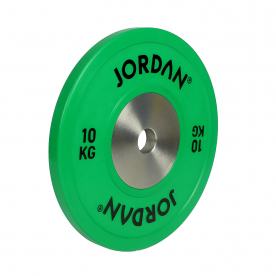 Jordan Fitness 10Kg Calibrated Colour Rubber Competition Plate - Green (x1)
