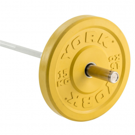 York 15Kg Solid Rubber Coloured Bumper Plate - Yellow (x1)