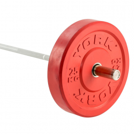 York 25Kg Solid Rubber Coloured Bumper Plate - Red (x1)