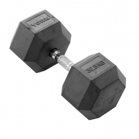 York 32.5Kg Rubber Hex Dumbbell (x1)
