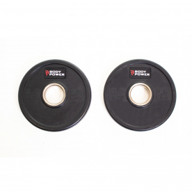 Body Power 2.5Kg Solid Rubber Olympic Weight Plates - 20cm Diameter (x2)