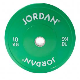 Jordan Fitness 10Kg HG Coloured Rubber Bumper Plate - Green (x1)