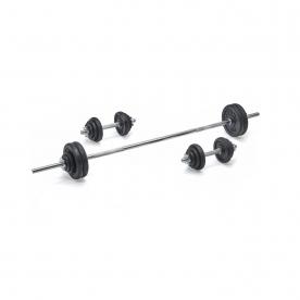 York 50kg Black Cast Iron Barbell/Dumbbell Spinlock Set