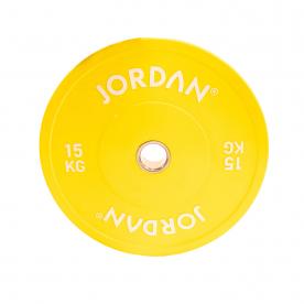 Jordan Fitness 15Kg HG Coloured Rubber Bumper Plate - Yellow (x1)