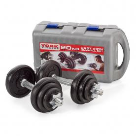 York 20kg Black Cast Iron Spinlock Dumbbell Set in Case