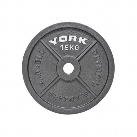 York 15kg Cast Iron Olympic Plate (x1)