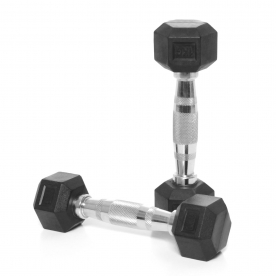 Body Power 1Kg Rubber Hex Ergo Dumbbells (x2)
