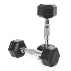 Body Power 3Kg Rubber Hex Ergo Dumbbells (x2)