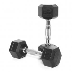 Body Power 4Kg Rubber Hex Ergo Dumbbells (x2)
