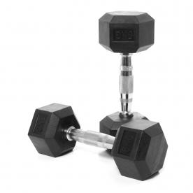 Body Power 5Kg Rubber Hex Ergo Dumbbells (x2)