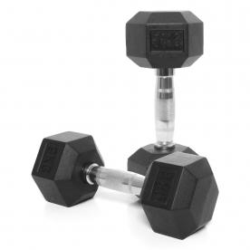 Body Power 9Kg Rubber Hex Ergo Dumbbells (x2)