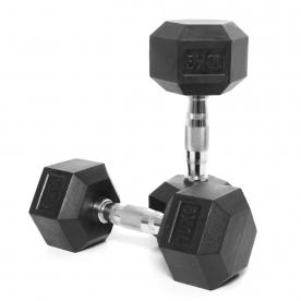 Body Power 10Kg Rubber Hex Ergo Dumbbells (x2)