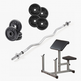 Preacher Curl Bench with Curl Bar &%
