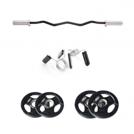 Body Power Prestige Olympic EZ Curl Bar with Olympic Spring Collars & 15kg Rubber Olympic Weight Plate Set