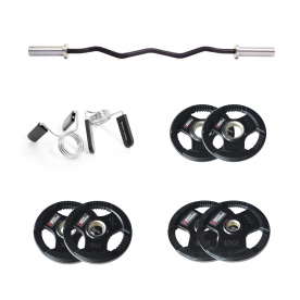 Body Power Prestige Olympic EZ Curl Bar with Olympic Spring Collars & 35kg Rubber Olympic Weight Plate Set
