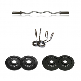 Body Power Olympic EZ Curl Bar with Olympic Spring Collars & 15kg Olympic Weight Plate Set