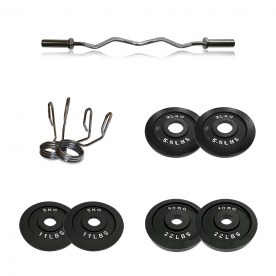 Body Power Olympic EZ Curl Bar with Olympic Spring Collars & 35kg Olympic Weight Plate Set