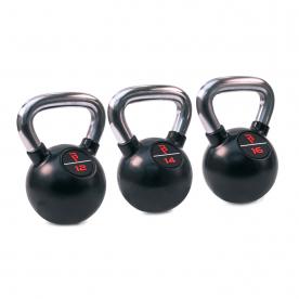 Body Power Premium Black Rubber Coated Kettlebells with Chrome Handle Set (12kg, 14kg, 16kg)