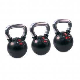 Body Power Premium Black Rubber Coated Kettlebells with Chrome Handle Set (12kg, 16kg, 20kg)
