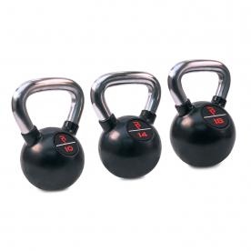 Body Power Premium Black Rubber Coated Kettlebells with Chrome Handle Set (10kg, 14kg, 18kg)