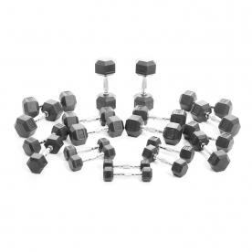 Body Power 1-10Kg Rubber Hex Dumbbell Weight Set